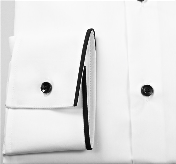 Camisa Vestir Blanca Ribete Negro