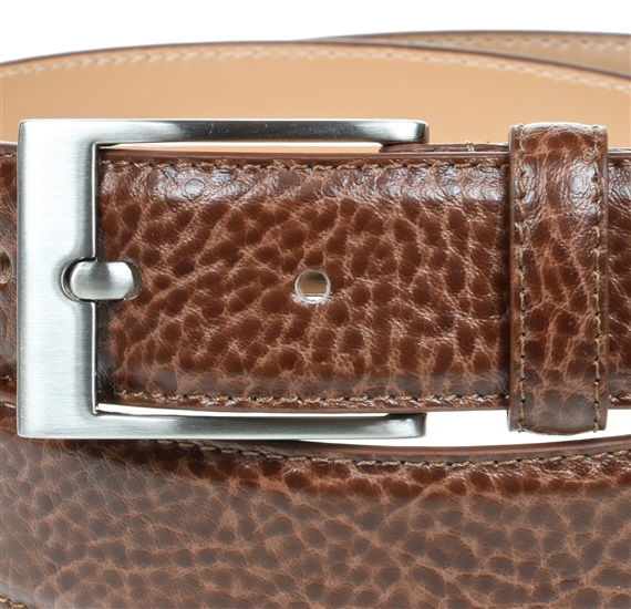 Camel brown leather belt buckle