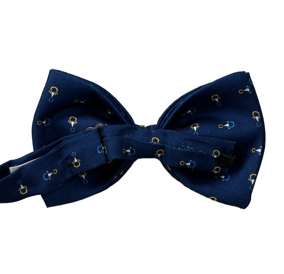 Blue bow tie with stirrups reverse
