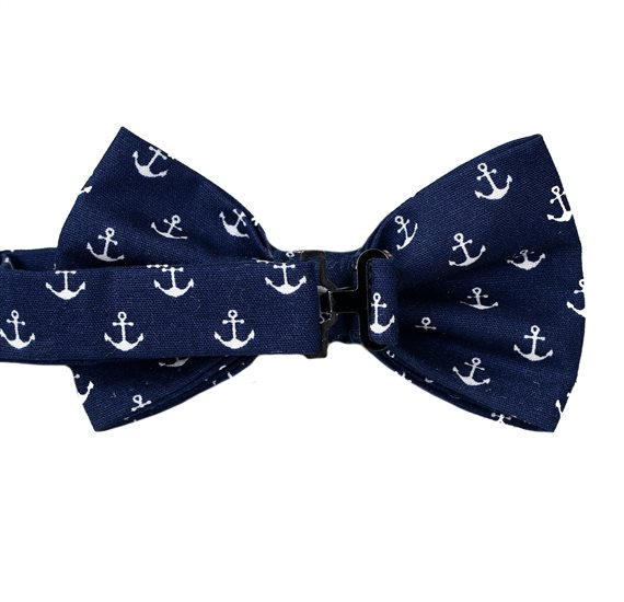 Deep blue boy´s bow tie with anchors