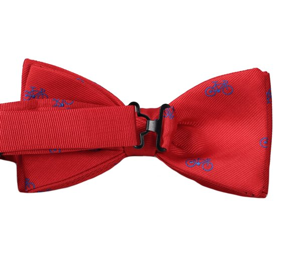 Red Bow Tie with Bicycles Reverse
