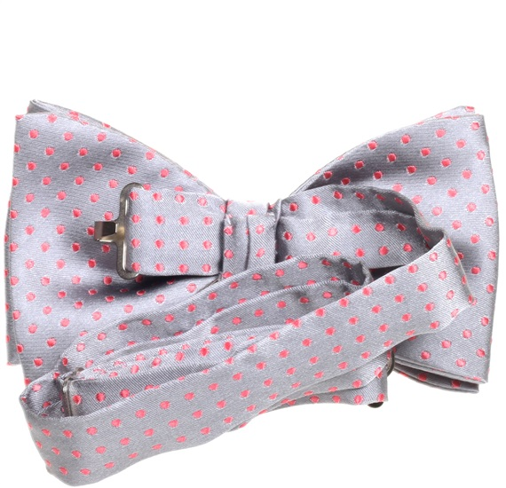 Grey silk bow tie with pink dots reverse