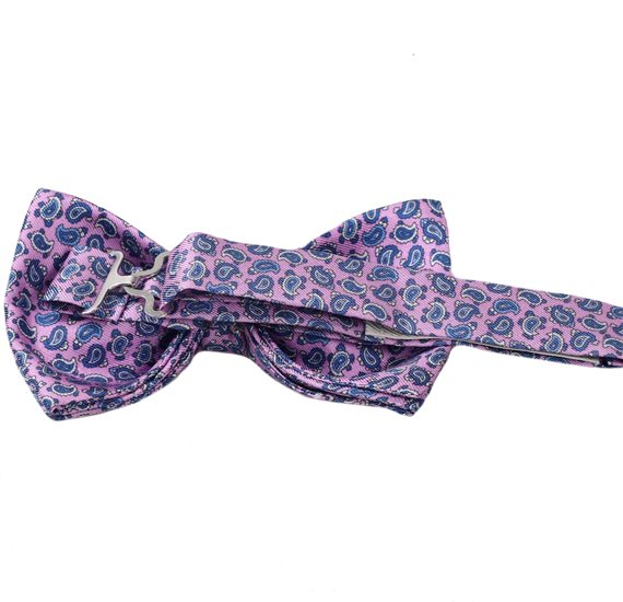 Pink bow tie with blue Paisley Reverse