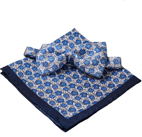 Silk Bow Tie and Pocket Square with Blue and Grey Flowers