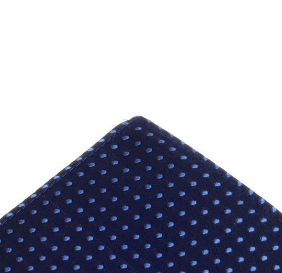 Deep blue pocket square with sky blue dots