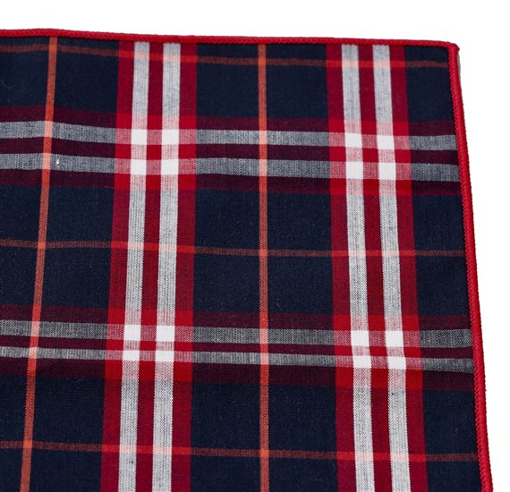 Blue and Red Tartan Pocket Square