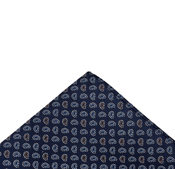 Blue pocket square with blue paisley