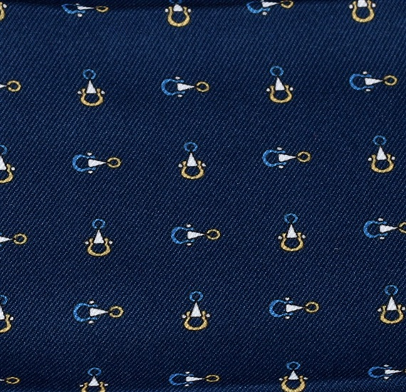 Blue pocket square with stirrups
