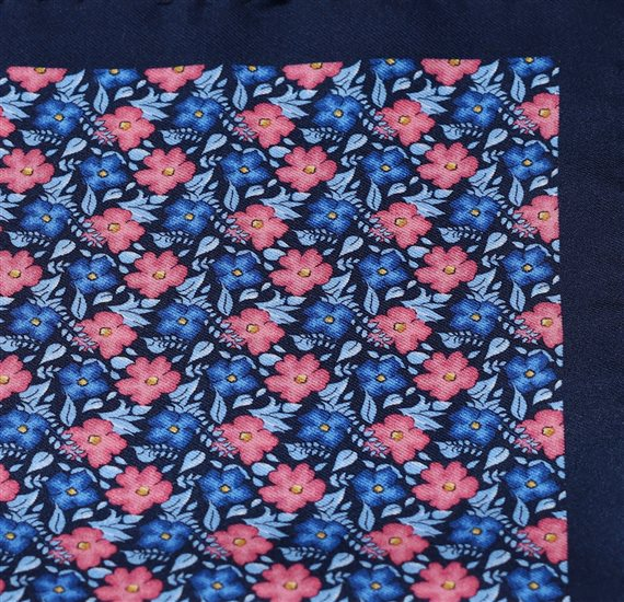 Pocket Square with Blue and Coral Flowers