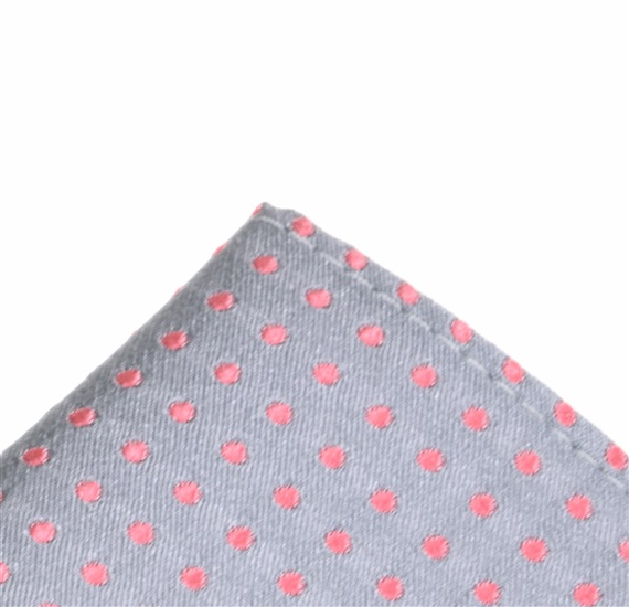 Grey silk pocket square with pink dots