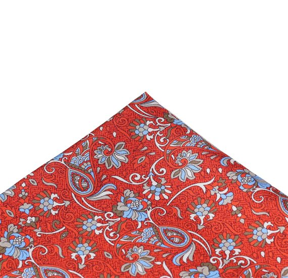 Dark Orange Pocket Square with Paisley