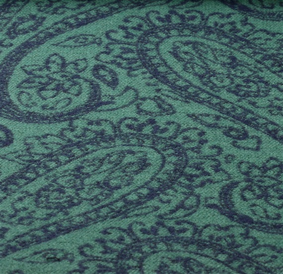Reversible green scarf with paisley