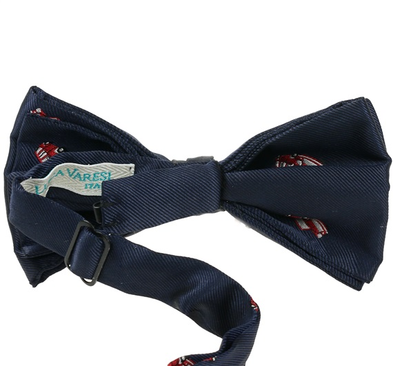 Dark blue bow tie reverse with red car mini