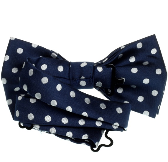 Blue bow tie reverse with white dots