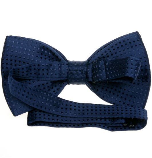 Deep blue bow tie reverse with dots
