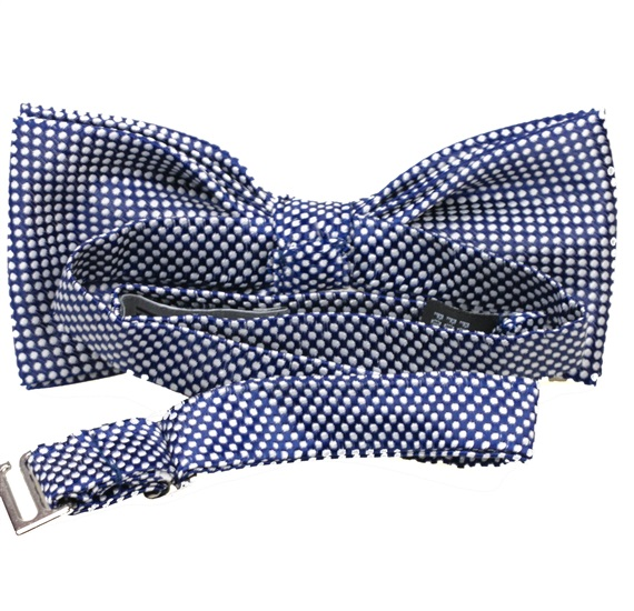 Reverse dark blue bow tie with dots