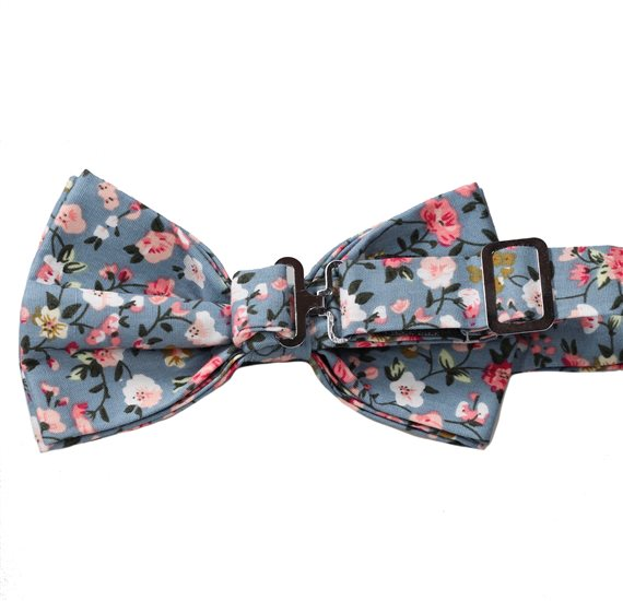 Reverse blue bow tie with flowers Liberty