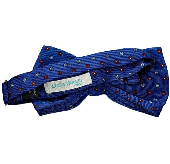 Reverse royal blue bow tie with flowers