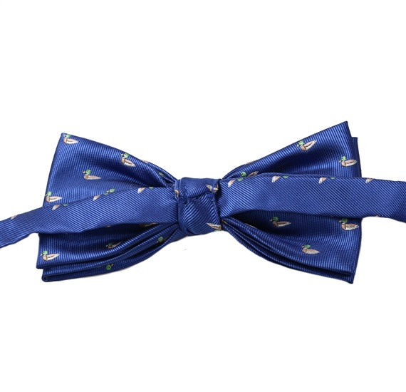 Reverse royal blue bow tie with ducks