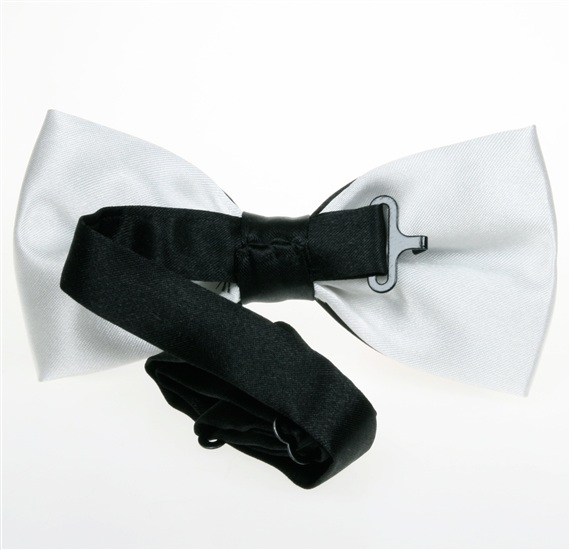 Reverse black and white bicolor satin bow tie