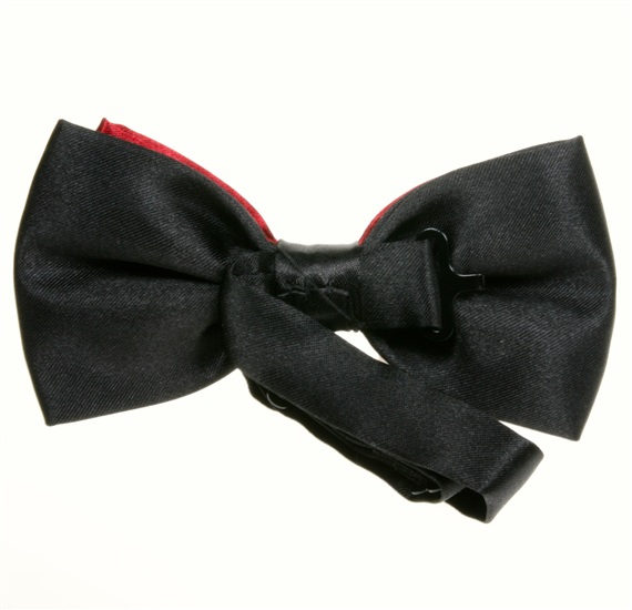 Reverse black and garnet satin bow tie