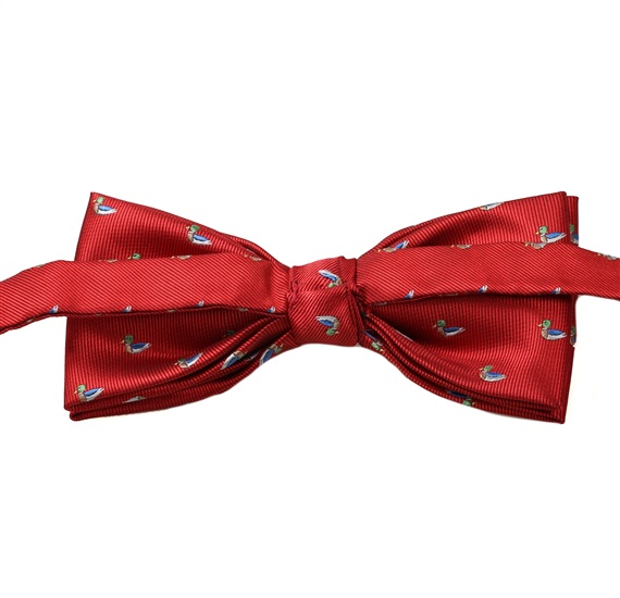Reverse red bow tie with ducks