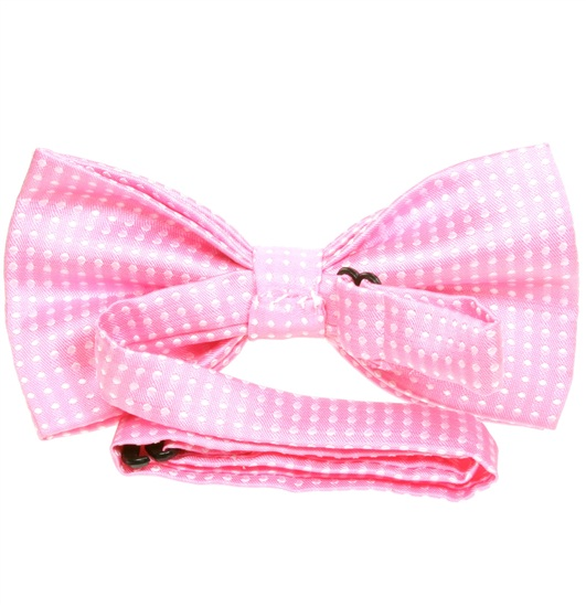 Pink bow tie reverse with white dots
