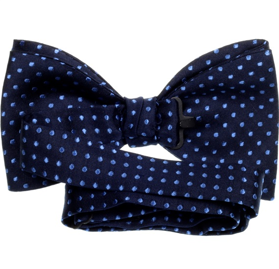 Deep blue silk bow tie with dots reverse