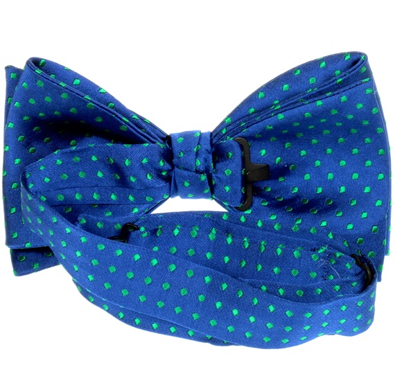 Royal blue silk bow tie with green dots reverse