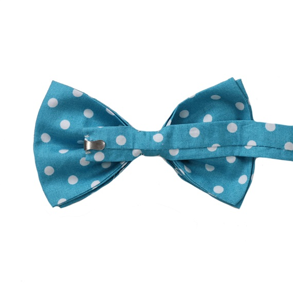 Turquoise bow tie reverse with white dots
