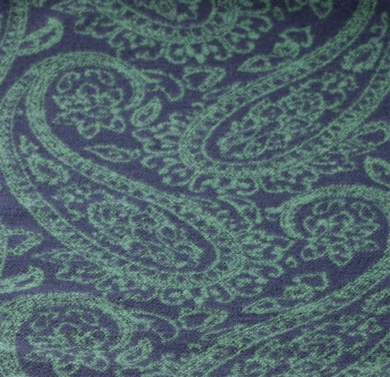 Dark blue scarf with green paisley woven