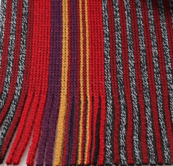 Red and grey stripes scarf woven