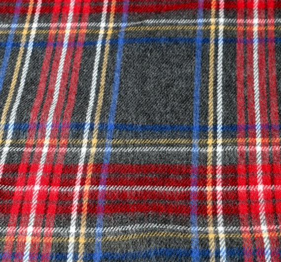 Grey and red tartan scarf woven