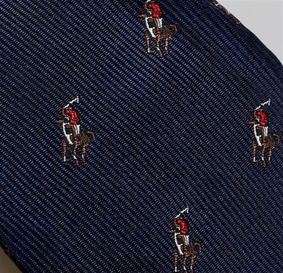 Woven blue self bow tie with polo rider