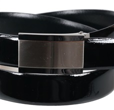 Black patent leather belt buckle