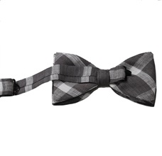 Grey bow tie with white checked