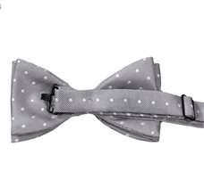 Grey Bow Tie with White Dots Reverse