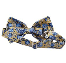 Yellow Silk Bow Tie with Blue Flowers and Paisley Reverse