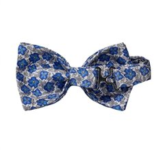 Bow Tie Blue and Grey Flowers Reverse