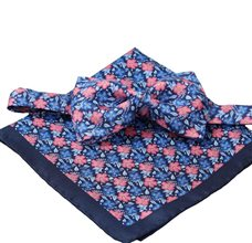 Silk Bow Tie and Pocket Square with Blue and Coral Flowers