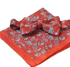 Dark Orange Silk Bow Tie and Pocket Square with Paisley