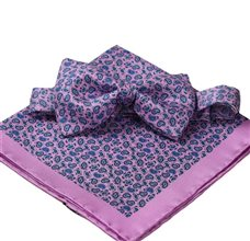 Pink silk bow tie and pocket square with blue Paisley