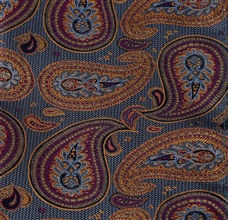 Blue pocket square with garnet and ocher paisley