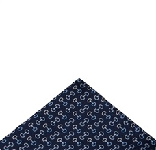 Blue pocket square with riding designs