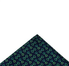 Blue pocket square with green designs riding