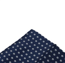 Blue pocket square with white daisies