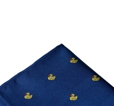 Royal blue pocket square with yellow ducks