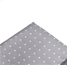 Grey Pocket Square with White Dots
