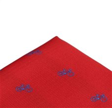 Red Pocket Square with Bicycles