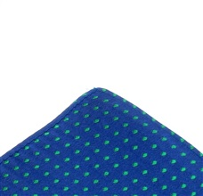 Royal blue silk pocket square with green dots